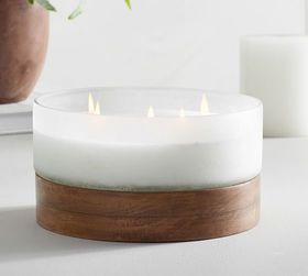 Pottery Barn Wood & Frosted Glass Scented Candle -
