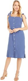 Three Dots Button Front Double Gauze Dress