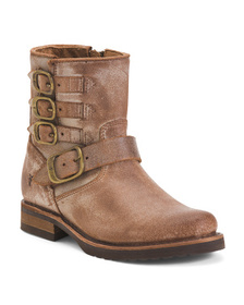 FRYE Belted Short Leather Booties