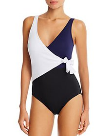 Tommy Bahama - Color-Blocked Wrap-Front One-Piece