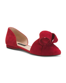 NINE WEST Suede Bow Detail D'orsay Flats