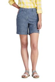 """Lands End Women's Mid Rise 7"""" Curvy Chino Chambray"""