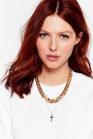 Nasty Gal Gold Crossed My Mind Layered Chain Neckl