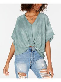 POLLY & ESTHER Womens Green Ombre Dolman Sleeve V  on sale at Walmart
