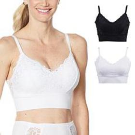"""""""As Is"""" Rhonda Shear 2-pack Lace Leisure Bra with"""