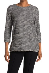 Max Studio Space Dye 3/4 Sleeve Patch Pocket Top