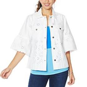 """""""As Is"""" Colleen Lopez Embroidered Eyelet Shirt Jac"""