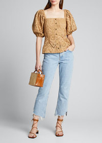 Ganni Broderie Anglaise Puff-Sleeve Button-Down To