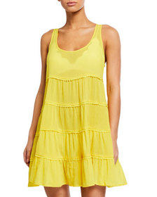 kate spade new york tiered lace-trim coverup dress