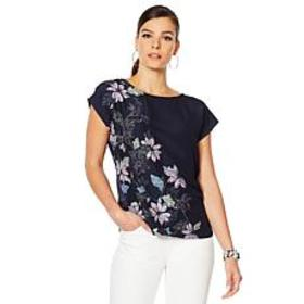 """""""As Is"""" Vince Camuto Floral Mixed-Media Blouse"""
