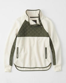 Asymmetrical Snap-Up Fleece, CREAM WITH OLIVE GREE