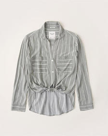 Long-Sleeve Tie-Front Shirt, OLIVE GREEN STRIPE