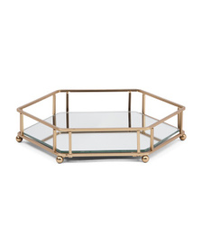 ROBELY Wire Hex Tray With Glass Mirror