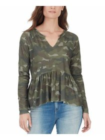 Womens Medium Camo-Print Peplum Top M
