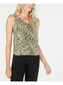 LEYDEN Womens Brown Animal Print V Neck Top Junior