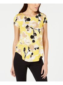 ALFANI Womens Yellow Floral Short Sleeve Jewel Nec