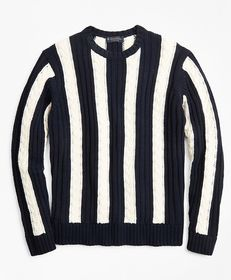 Brooks Brothers Vertical Stripe Cable Crewneck Swe
