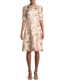 Lela Rose Holly Floral-Embroidered 1/2-Sleeve A-Li