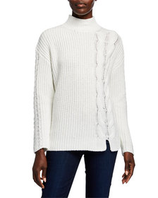 CALVIN KLEIN Ribbed Mock-Neck Sweater w/ Cable-Kni