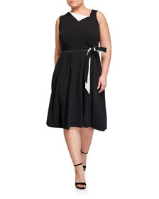 CALVIN KLEIN Plus Size Fold Over Belted Fit-and-Fl