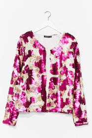 Nasty Gal Pink In It to Sequin It Relaxed Jacket