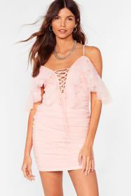 Nasty Gal Pink A Lil Party Mesh Lace-Up Mini Dress