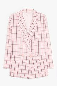 Nasty Gal Pink Lemme Check Double Breasted Blazer