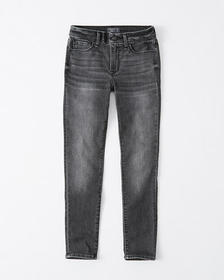 Mid Rise Super Skinny Ankle Jeans, WASHED DARK GRE