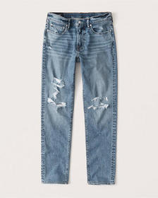 Ripped Athletic Skinny Jeans, MEDIUM RIPPED WASH