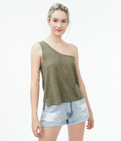 Aeropostale Slub One-Shoulder Cropped Muscle Tank*
