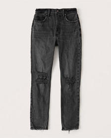 High Rise Skinny Jeans, RIPPED WASHED BLACK