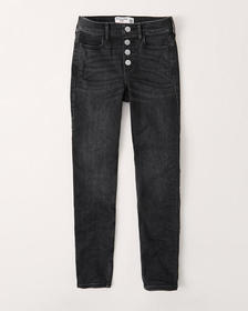 high rise pull-on jeggings, WASHED BLACK