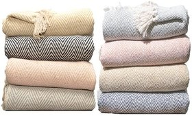 100% Cotton Throw Blankets With Tassels