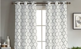 Geometric Linen Window Curtains 96 Inch and 112 In