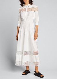 Huishan Zhang 3/4-Sleeve Cotton Midi Shirtdress w/