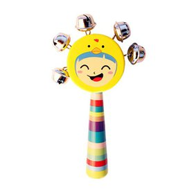Baby Smile Faces Natural Wooden Hand Bells Rattles