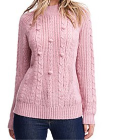 Cable-Knit Mock-Neck Sweater