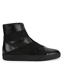 John Galliano Slip-On Leather High-Top Sneakers