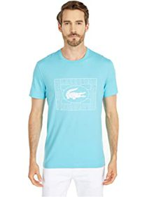 Lacoste Short Sleeve Solid Tee with Large Stamp Ba