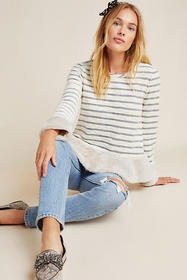 Anthropologie Astor Fur-Trimmed Pullover