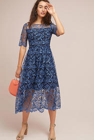 Anthropologie Shoshanna Dandelion Embroidered Midi
