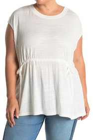 Max Studio Striped Crinkled Jersey T-Shirt (Plus S