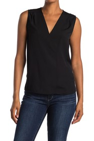 French Connection Solid V-Neck Sleeveless Blouse