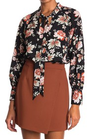 French Connection Alette Floral Tie Neck Tunic Blo