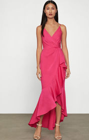 BCBG Faux Wrap Ruched Ruffle Dress