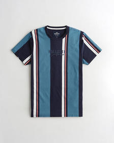 Hollister Stripe Embroidered Graphic Tee, NAVY STR
