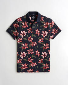 Hollister Stretch Floral Polo, NAVY FLORAL