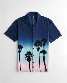 Hollister Hollister Summer Shirt, NAVY TO PINK OMB