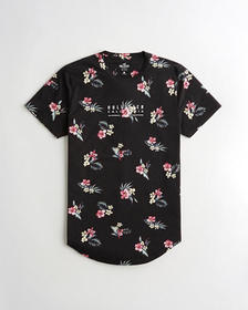 Hollister Floral Logo Graphic Tee, BLACK FLORAL