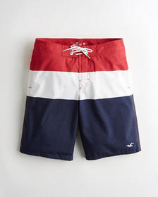 Hollister Boardshort 11 in., RED WHITE AND NAVY